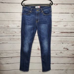 CAbi 3561 High Straight Leg Dark Distressed Jeans